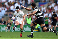 Marcus Smith of the England XV puts boot to ball. Quilter Cup International match between England XV and the Barbarians on June 2, 2019 at Twickenham Stadium in London, England. Photo by: Patrick Khachfe / Onside Images
