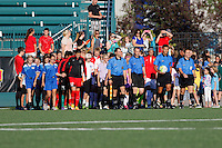 Rochester, NY - Friday June 17, 2016: Walk on prior to a regular season National Women's Soccer League (NWSL) match between the Western New York Flash and the Portland Thorns FC at Rochester Rhinos Stadium.