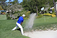 Padraig Harrington (IRL) chips from a bunker at the 12th green at Pebble Beach course during Friday's Round 2 of the 2018 AT&amp;T Pebble Beach Pro-Am, held over 3 courses Pebble Beach, Spyglass Hill and Monterey, California, USA. 9th February 2018.<br /> Picture: Eoin Clarke | Golffile<br /> <br /> <br /> All photos usage must carry mandatory copyright credit (&copy; Golffile | Eoin Clarke)