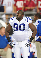 Sept. 27, 2009; Glendale, AZ, USA; Indianapolis Colts defensive tackle Daniel Muir against the Arizona Cardinals at University of Phoenix Stadium. Indianapolis defeated Arizona 31-10. Mandatory Credit: Mark J. Rebilas-