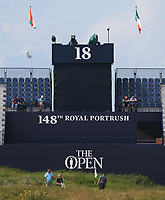 Grandstand at the 18th during a practice round ahead of the 148th Open Championship, Royal Portrush Golf Club, Portrush, Antrim, Northern Ireland. 16/07/2019.<br /> Picture David Lloyd / Golffile.ie<br /> <br /> All photo usage must carry mandatory copyright credit (© Golffile | David Lloyd)