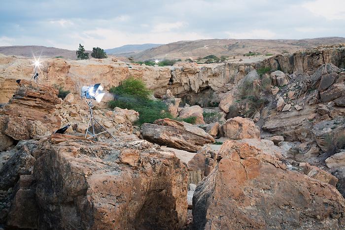 """Shooting of the series """"Dhebbah Ighleis"""" (""""Ighleis le tueur"""") Jordan, Mars 2017 (Arab Telemedia). The shooting of this series, inspired by the Bedouin mythology, is being shot in the desert close to the Dead Sea.<br /> <br /> Tournage de la série """"Dhebbah Ighleis"""" (""""Ighleis le tueur"""") Jordanie, Mars 2017 (Arab Telemedia). Le tournage de cette série mettant en scène une légende bédouine est réalisé dans le désert près de la mer morte."""