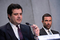 Il direttore dell'Autorità di Informazione Finanziaria (AIF) Tommaso Di Ruzza, sinistra, e il presidente Rene' Brulhart durante la conferenza stampa per la presentazione del rapporto annuale, Citta' del Vaticano, 28 aprile 2016.<br /> Tommaso Di Ruzza, president of the Financial Information Authority (AIF) of Vatican City, left, and president Rene' Bruelhart attend a press conference to present the annual report, at the Vatican, 28 April 2016.<br /> UPDATE IMAGES PRESS/Riccardo De Luca<br /> <br /> STRICTLY ONLY FOR EDITORIAL USE