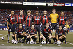 2 October 2004: MetroStars starting lineup. Front row (l to r): Gilberto Flores, Mike Magee, Chris Leitch, Craig Ziadie. Back row (l to r): Ricardo Clark, John Wolyniec, Eddie Gaven, Eddie Pope, Jeff Parke, Jonny Walker, Amado Guevara. DC United defeated the MetroStars 1-0 at Giants Stadium in East Rutherford, NJ during a regular season Major League Soccer game..