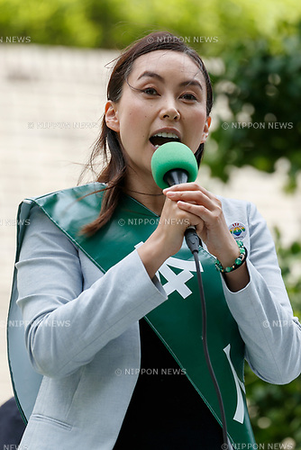 Candidate Airi Ryuen, makes a street speech whilst campaigning for Tokyo's Metropolitan Assembly elections outside the supermarket Queen's Isetan Sasazuka on June 10, 2017, Tokyo, Japan. Yuriko Koike, Tokyo Governor and leader of the Tomin First no Kai (Tokyo Citizens First) party, appeared to support her party's candidate, Airi Ryuen, for city elections which will be held on July 2. (Photo by Rodrigo Reyes Marin/AFLO)