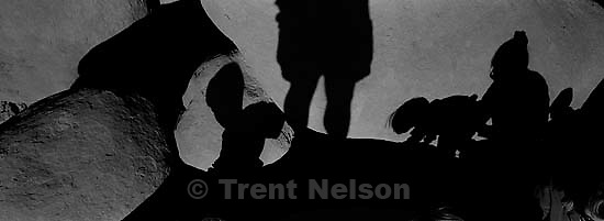 Noah Nelson, Ed Zambrano, Nathaniel Nelson at Goblin Valley. shadows<br />