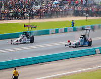 Oct 7, 2018; Ennis, TX, USA; NHRA top fuel driver Steve Torrence (left) against Blake Alexander during the Fall Nationals at the Texas Motorplex. Mandatory Credit: Mark J. Rebilas-USA TODAY Sports