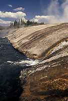 Yellowstone National Park, WY, Wyoming, Run off from hot springs drain into Iron Creek at Biscuit Basin in Yellowstone Nat'l Park in Wyoming.