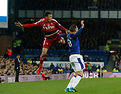 5th November 2017, Goodison Park, Liverpool, England; EPL Premier League Football, Everton versus Watford; Jose Holebas of Watford wins an aerial challenge against Gylfi Sigurdsson of Everton