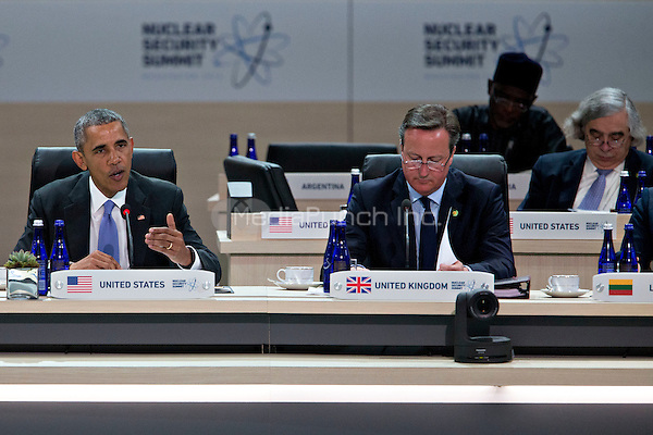 United States President Barack Obama, left, speaks during a closing session with David Cameron, U.K. prime minister, at the Nuclear Security Summit in Washington, D.C., U.S., on Friday, April 1, 2016. After a spate of terrorist attacks from Europe to Africa, Obama is rallying international support during the summit for an effort to keep Islamic State and similar groups from obtaining nuclear material and other weapons of mass destruction. <br /> Credit: Andrew Harrer / Pool via CNP/MediaPunch