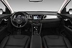 Stock photo of straight dashboard view of 2017 KIA Niro Sense 5 Door SUV Dashboard