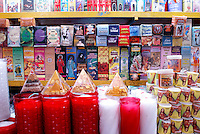Candles and magical potions for sale in the market, city of Veracruz, Mexico