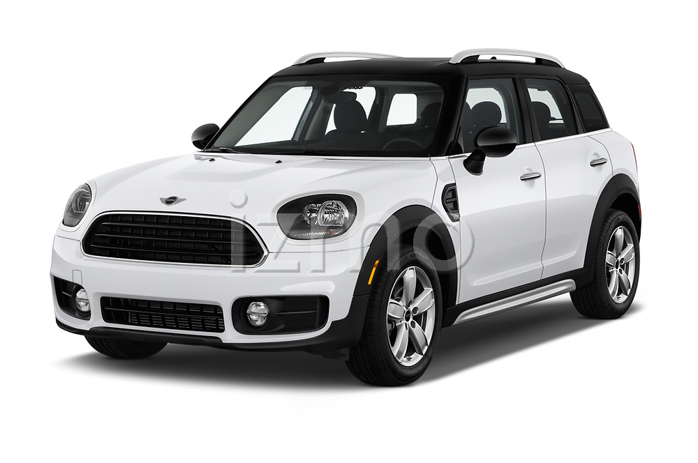 2019 MINI Countryman 5-Door 5 Door Hatchback Angular Front stock photos of front three quarter view