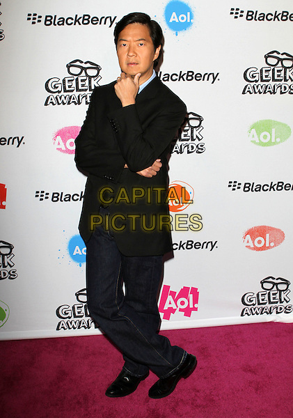KEN JEONG.The 2010 AOL Geek Awards held at The Conga Room, Los Angeles, CA, USA. .August 18th, 2010.full length suit posing hand on chin black blue .CAP/ADM/FS.©Faye Sadou/AdMedia/Capital Pictures.