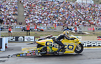 Jul, 22, 2012; Morrison, CO, USA: NHRA pro stock motorcycle rider Karen Stoffer during the Mile High Nationals at Bandimere Speedway. Mandatory Credit: Mark J. Rebilas-US PRESSWIRE