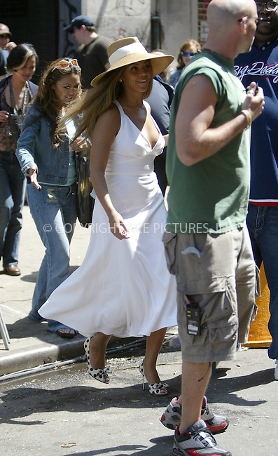 Beyonce Knowles on the first day of shooting of 'The Pink Panther' (working title is The Birth of the Pink Panther'). New York, May 10, 2004. Please byline: ACE Pictures.   .. *** ***  ..All Celebrity Entertainment, Inc:  ..contact: Alecsey Boldeskul (646) 267-6913 ..Philip Vaughan (646) 769-0430..e-mail: info@nyphotopress.com