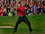 LA JOLLA, CA - JUNE 15, 2008:.Tiger Woods celebrates on the eighteenth green  after sinking a putt for a birdie and to force a playoff with Rocco Mediate during the final round of the U.S. Open at Torrey Pines in La Jolla of June 15, 2008. (Richard Hartog/ Los Angeles Times)