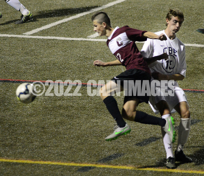 Conestoga's Chris Donovan #12 is forced out of bounds by CB East's Ian Lutz #15 in the first half Saturday November 7, 2015 in Souderton, Pennsylvania.  (Photo by William Thomas Cain)