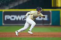 Pat DeMarco (18) of the Vanderbilt Commodores hustles back to first base against the Houston Cougars during game nine of the 2018 Shriners Hospitals for Children College Classic at Minute Maid Park on March 3, 2018 in Houston, Texas. The Commodores defeated the Cougars 9-4. (Brian Westerholt/Four Seam Images)