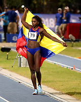 BARRANQUILLA - BARRANQUILLA - COLOMBIA, 30-07-2018: Caterine Ibargüen, de Colombia, durante su participación en la prueba de Salto Largo Mujeres, en el Estadio de Atletismo Rafael Cotes, como parte de los Juegos Centroamericanos y del Caribe Barranquilla 2018. / Caterine Ibargüen, from Colombia, during his participation in the Long Jumping Women test, at the Rafael Cotes Athletics Stadium, as a part of the Central American and Caribbean Sports Games Barranquilla 2018. Photo: VizzorImage / Cont.