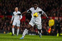 Saturday 11 January 2014 Pictured: Wilfried Bony tries to line up a shot <br /> Re: Barclays Premier League Manchester Utd v Swansea City FC  at Old Trafford, Manchester