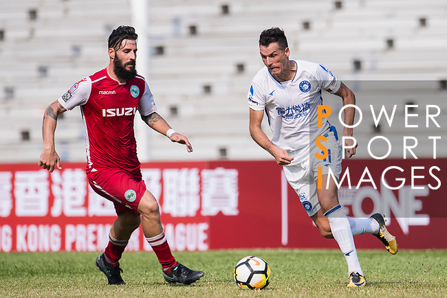 Marko Perovic of R&F F.C (R) fights for the ball with Marcos De La Espada of Kwoon Chung Southern (L) during the week three Premier League match between Kwoon Chung Southern and R&F at Aberdeen Sports Ground on September 16, 2017 in Hong Kong, China. Photo by Marcio Rodrigo Machado / Power Sport Images