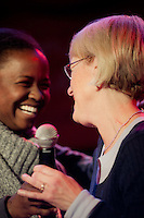 Makini Howell, owner of Captitol Hill restaurant Plum Bistro, introduced Patty Murray at the Senator's election rally at Neumos, Seattle, WA on Monday, Nov. 1, 2010.