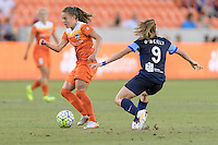 Houston, TX - Sunday June 19, 2016: Andressa, Heather O'Reilly during a regular season National Women's Soccer League (NWSL) match between the Houston Dash and FC Kansas City at BBVA Compass Stadium.