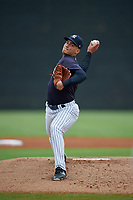 New York Yankees Frank German (27) during a Minor League Spring Training game against the Atlanta Braves on March 12, 2019 at New York Yankees Minor League Complex in Tampa, Florida.  (Mike Janes/Four Seam Images)
