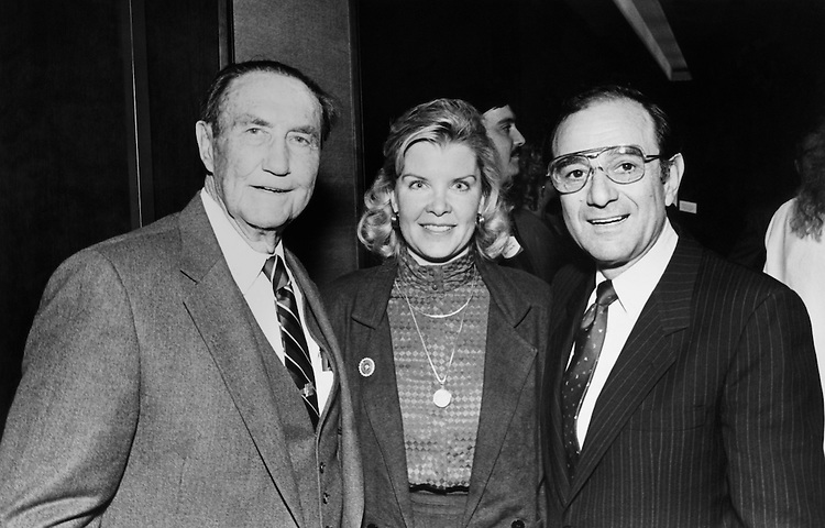 "Sen. James Strom Thurmond, R-S.C., Nancy Janice Moore, and Sen. Mayer Jacob ""Chic"" Hecht, R-Nev., posing for a picture. March 1988 (Photo by CQ Roll Call)"