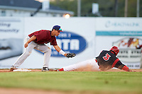 Mahoning Valley Scrappers second baseman Mark Mathias (29) tags out Anfernee Seymour (3) during a game against the Batavia Muckdogs on June 24, 2015 at Dwyer Stadium in Batavia, New York.  Batavia defeated Mahoning Valley 1-0 as three Muckdogs pitchers combined to throw a perfect game.  (Mike Janes/Four Seam Images)