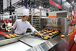 June 8, 2016, Tokyo, Japan - Japanese food machinery maker Shichiyo displays choux pastry making machine for cream puffs at the International Food Machinery and Technology Exhibition in Tokyo on Wednesday, June 8, 2016. 688 Japanese and foreign food machinery companies are exhibiting their latest technology and products in the four-day trade show.   (Photo by Yoshio Tsunoda/AFLO) LWX -ytd-