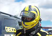 Apr. 1, 2012; Las Vegas, NV, USA: NHRA top fuel dragster driver Morgan Lucas during the Summitracing.com Nationals at The Strip in Las Vegas. Mandatory Credit: Mark J. Rebilas-