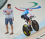 RIO DE JANEIRO - 6/9/2016:  Sébastien Travers and Nicole Clermont during Track Cycling training at the Paralympic Village at the Rio 2016 Paralympic Games. (Photo by Matthew Murnaghan/Canadian Paralympic Committee