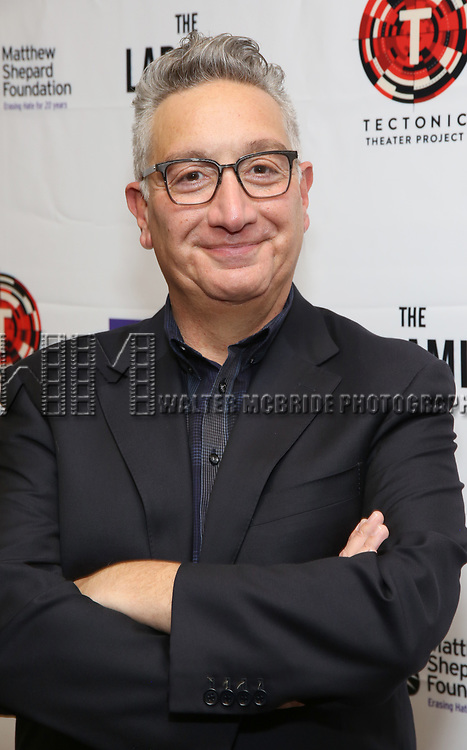 """Moises Kaufman attends the cast photo call for """"Laramie: A Legacy""""  on September 24, 2018 at The Gerald W. Lynch Theater at John Jay College in New York City."""