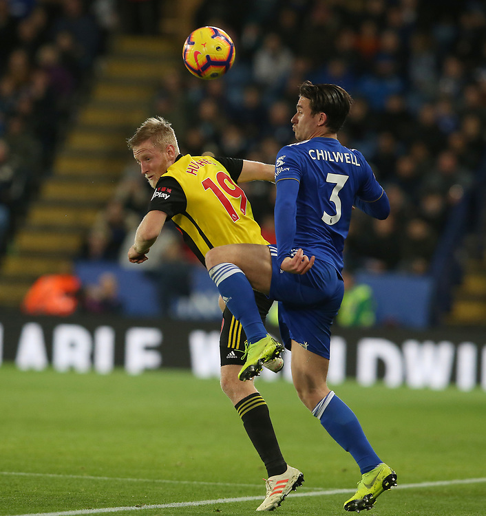 Leicester City's Ben Chilwell and Watford's Will Hughes <br /> <br /> Photographer Stephen White/CameraSport<br /> <br /> The Premier League - Leicester City v Watford - Saturday 1st December 2018 - King Power Stadium - Leicester<br /> <br /> World Copyright © 2018 CameraSport. All rights reserved. 43 Linden Ave. Countesthorpe. Leicester. England. LE8 5PG - Tel: +44 (0) 116 277 4147 - admin@camerasport.com - www.camerasport.com