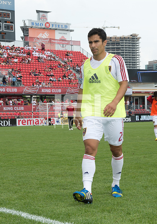 29 June 2013: Real Salt Lake defender Tony Beltran #2 walks off the pitch after warm-ups during an MLS game between Real Salt Lake and Toronto FC at BMO Field in Toronto, Ontario Canada.<br /> Real Salt Lake won 1-0.