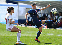 20190306 - LARNACA , CYPRUS : Hungarian Evelin Mosdoczi (left) pictured defending on Slovakian Martina Surnovska during a women's soccer game between Slovakia and Hungary , on Wednesday 6 th March 2019 at the Antonis Papadopoulos stadium in Larnaca , Cyprus . This last game for both teams which decides for places 11 and 12 of the Cyprus Womens Cup 2019 , a prestigious women soccer tournament as a preparation on the Uefa Women's Euro 2021 qualification duels. PHOTO SPORTPIX.BE | DAVID CATRY