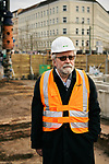 Germany, Berlin, 2018/01/24<br /> <br /> Carl-Wolfgang Holzapfel stands on front of the construction site by the remains of a ramshackle he and his companions used to cover up the work on a tunnel from West- to East-Berlin in 1963. Photo by Gregor Zielke (Photo by Gregor Zielke)