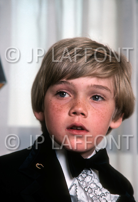 Beverly Hills, Los Angeles, California - April 9, 1979. This portrait of the young Ricky Schroder (8) was taken before the 1979 Academy Awards, where he won the Golden Globe Award for New Star of the Year for his role in Academy Award-winning film The Champ, directed by Franco Zeffirelli. Ricky Schroder (born April 13, 1970) is an American actor and director, who is known for his debut in The Champ and, more recently, his role in television crime drama NYPD Blue.
