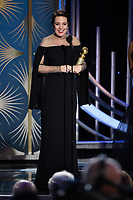 Olivia Colman accepts the Golden Globe Award for BEST PERFORMANCE BY AN ACTRESS IN A MOTION PICTURE &ndash; COMEDY OR MUSICAL for her role in &quot;The Favourite&quot; at the 76th Annual Golden Globe Awards at the Beverly Hilton in Beverly Hills, CA on Sunday, January 6, 2019.<br /> *Editorial Use Only*<br /> CAP/PLF/HFPA<br /> Image supplied by Capital Pictures