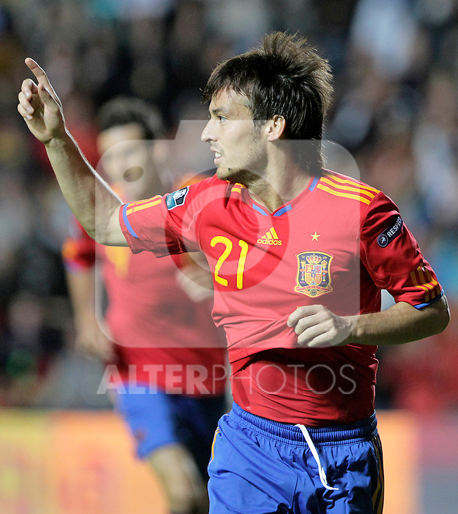 Spain's David Jimenez Silva celebrates goal during UEFA Eurocup 2012 qualifying match.October 8,2010. (ALTERPHOTOS/Acero)