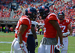 (L to R) Jordan Wilkins is congratulated by DaMarkus Lodge after Wilkins runs the ball down the field during the game against UT Martin Sat., Sept. 9, 2017. Ole Miss wins 45-23. Photo by Marlee Crawford/Ole Miss Communications