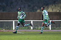 Nathan Koranteng of Waltham Abbey (L) scores the third goal for his team and celebrates during AFC Hornchurch vs Waltham Abbey, Bostik League Division 1 North Football at Hornchurch Stadium on 13th January 2018