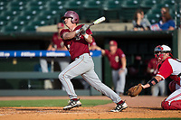 Jacob Yish (19) of the Boston College Eagles follows through on his swing against the North Carolina State Wolfpack in Game Two of the 2017 ACC Baseball Championship at Louisville Slugger Field on May 23, 2017 in Louisville, Kentucky.  The Wolfpack defeated the Eagles 6-1. (Brian Westerholt/Four Seam Images)