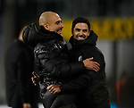 Josep Guardiola manager of Manchester City celebrates with assistant Mikel Arteta during the Premier League match at Turf Moor, Burnley. Picture date: 3rd December 2019. Picture credit should read: Simon Bellis/Sportimage