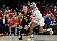 COLLEGE PARK, MD - FEBRUARY 13: Kaila Charles #5 of Maryland covers Makenzie Meyer #3 of Iowa during a game between Iowa and Maryland at Xfinity Center on February 13, 2020 in College Park, Maryland.