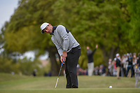 Francesco Molinari (ITA) sinks his birdie putt on 1 to win the hole during day 5 of the WGC Dell Match Play, at the Austin Country Club, Austin, Texas, USA. 3/31/2019.<br /> Picture: Golffile | Ken Murray<br /> <br /> <br /> All photo usage must carry mandatory copyright credit (&copy; Golffile | Ken Murray)