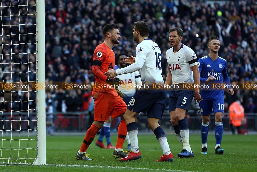Hugo Lloris of Tottenham Hotspur is congratulated by Fernando Llorente of Tottenham Hotspur after saving a penalty during Tottenham Hotspur vs Leicester City, Premier League Football at Wembley Stadium on 10th February 2019