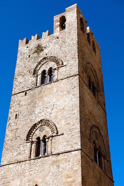 Torre de Re Frederico 2nd, Érice Duomo [Erice cathedral], Sicily stock photos.
